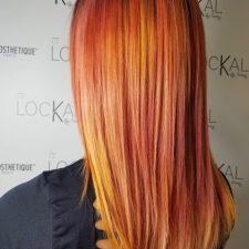 cheveux long aux couleurs flamboyantes- Le lockal Spécialisation en coloration